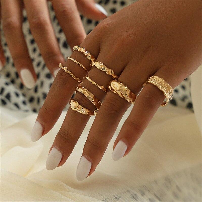 9 unids/set Metal Gótico nudillo anillos para mujeres Irregular anillo Vintage de las mujeres regalo de joyas de fiesta