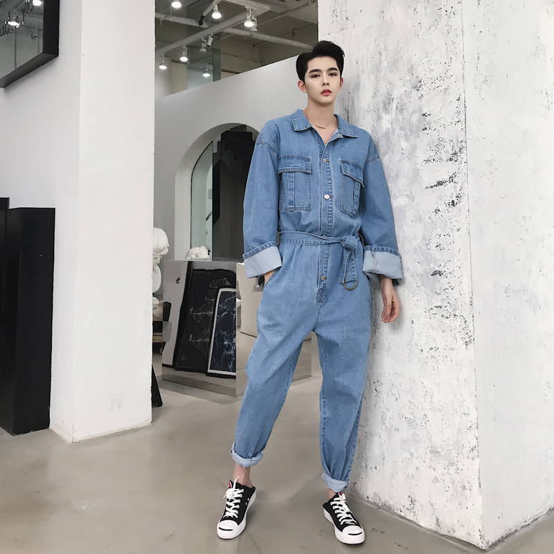 Men Fashion Summer British Style Retro Small Fresh Rompers Jeans for Men Casual Loose Denim Rompers Jeans