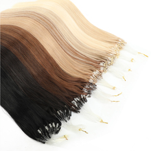 MRSHAIR Straight Loop Micro Ring Hair Micro Beads Links Remy Hair Extensions Fish Line 1g/pc 50pcs Brown Blonde Black Pure Color