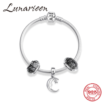 Sweet dreams Authentic 925 Sterling Silver Bracelet for girls Snake Chain Glass Murano charms silver Good night Pendants beads