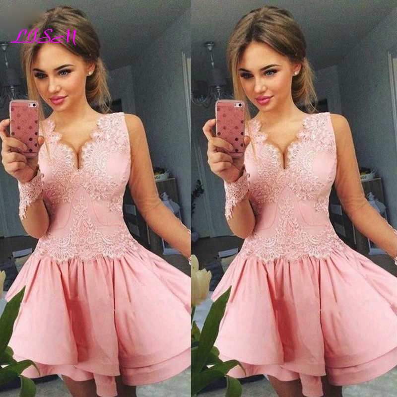 Illusion Long Sleeves Lace Homecoming   Dresses   V-Neck Applique Pink   Cocktail     Dress   A-Line Short Prom Gowns 2020