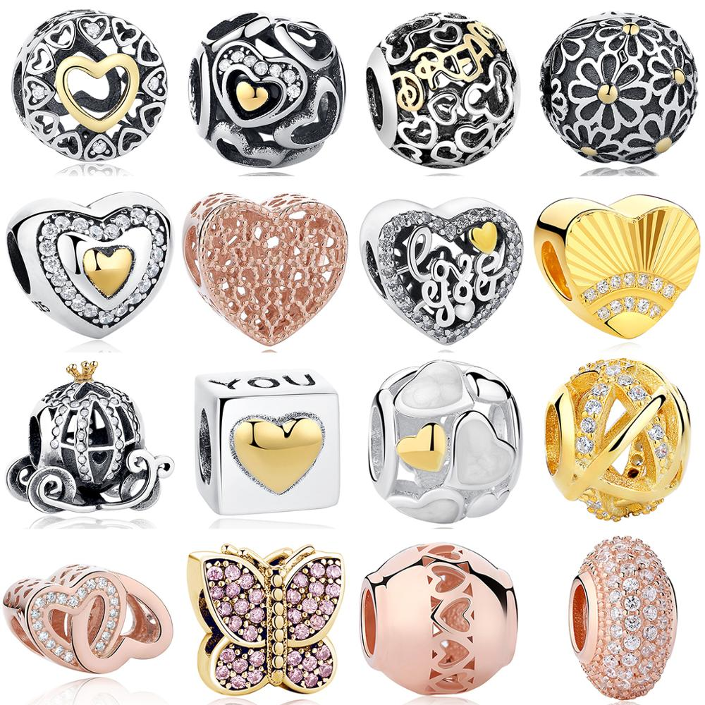 Fit Authentic Pandora Charms Bracelet Sterling Silver 925 Original Openwork Gold Heart Daisy Butterfly Beads DIY Jewelry Making(China)
