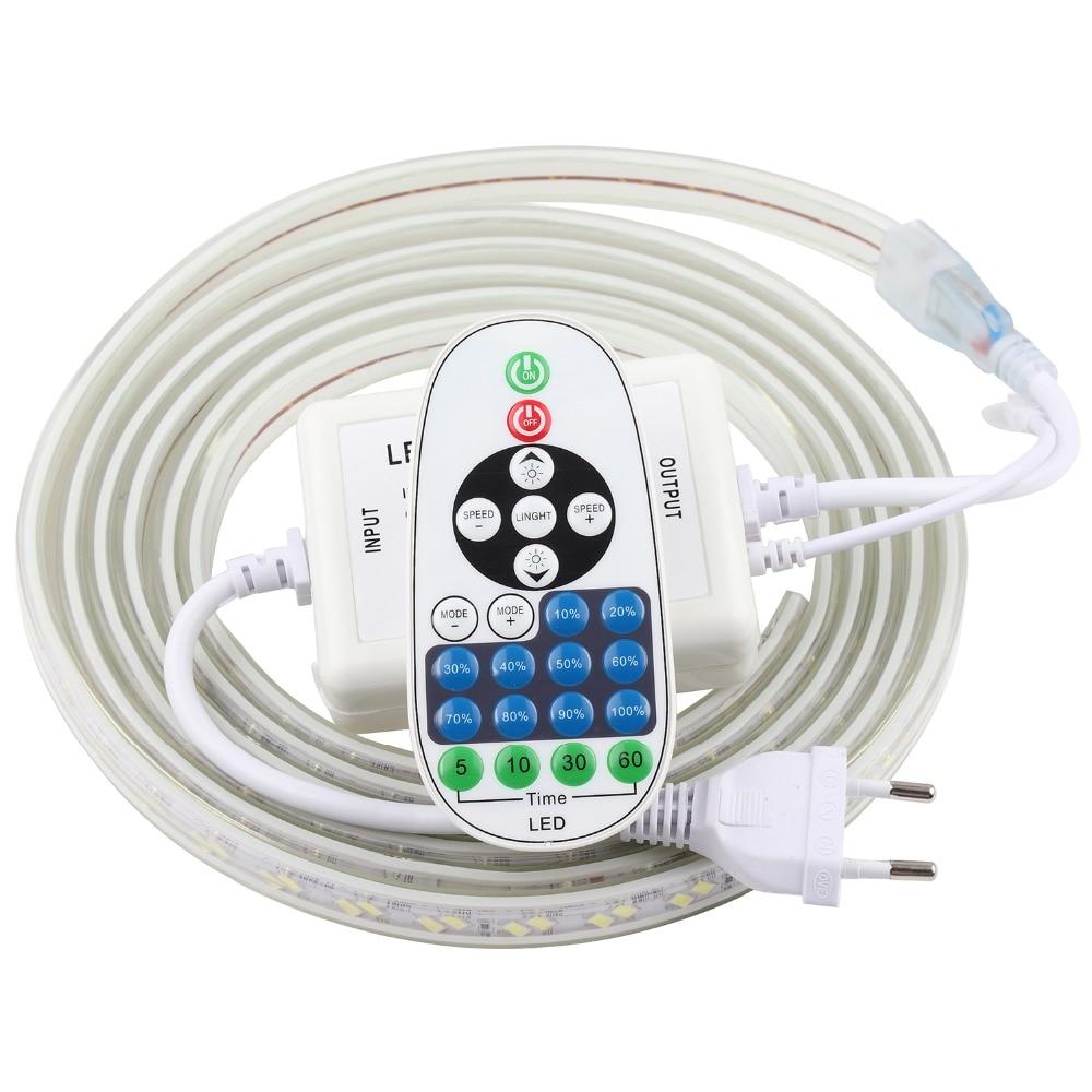 Tira de luz de led ajustável, controle remoto, 220 v, 220 v, à prova d'água, 120 leds/m, 5730 fita, ledstrip fita stripe para lâmpada do quarto