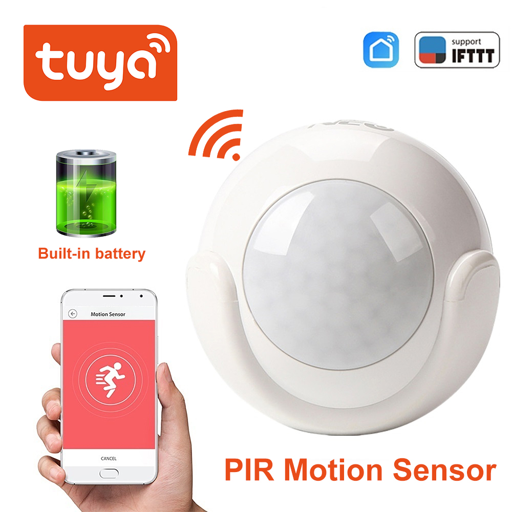 Tuya Mini WIFI PIR Motion Sensor Built-in Battery Hole-free Installation Human Body Sensor  Body Wireless Infrared Detector Tuya