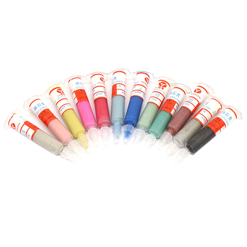 12pcs Diamond Polishing Oil Soluble Home Micron Tool Abrasive Portable Metal Compound Syringes Lapping Paste Professional
