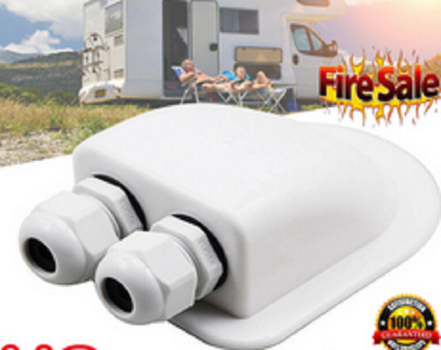Waterproof Roof Double Cable Entry Gland Motorhome Caravan RV Solar Satellite
