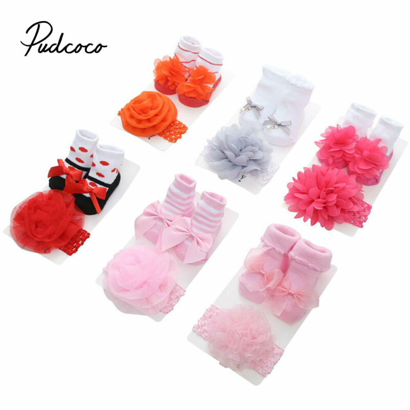 1Set Newborn Socks+ Headband Baby Bows Hair Band Infant Lace Soft Baby Girl Socks Cotton Anti Slip Baby Socks Meia Infantil