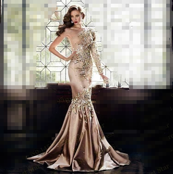 Купить с кэшбэком Luxury Crystal Evening dress 2019 robe de soiree Dubai One Shoulder Rhinestone Formal Gown Long Sleeve Gold Prom evening Dresses