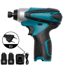 12V Impact Electric Screwdriver Rechargeable Household Handheld Cordless Electric Drill With 2000mAh Battery+Screwdriver Set