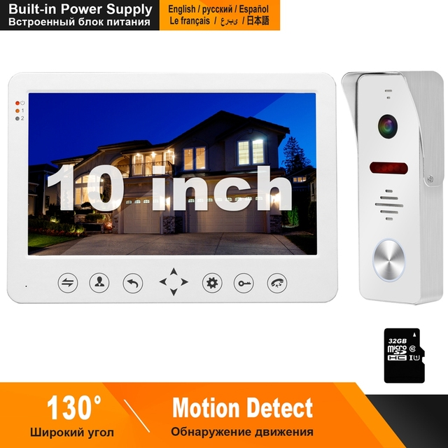 HomeFong Video Intercom Wired 10inch Monitor Built in Power Supply 130 Degree Doorbell Camera Home Intercom Motion Detect Record