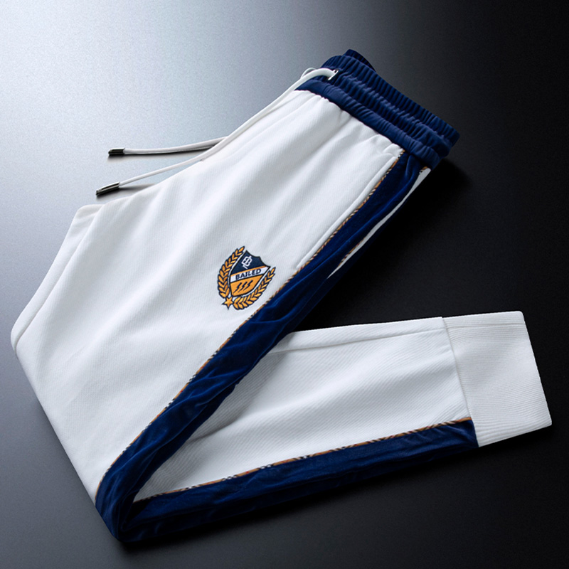 Light luxury white badge embroidered casual sports pants men's woven foot trousers side webbing trousers