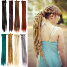 Handmade Dreadlocks Hair Extensions Black Brown Synthetic Hair 1 Strands Expression Braiding Hair For Women And Men 20 Inch(China)