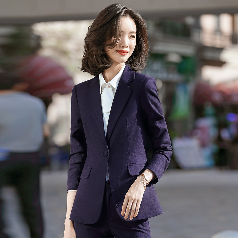 2020 Spring Ladies Professional Pants Suit Office Interview Clothing Feminine Casual Temperament Women's Blazer Fashion Trousers