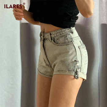 ILARES Jeans Woman Short Pants 2020 Slim Fit Denim Shorts For Women High Waist Casual High Waist Vintage Female Shorts Mom Jeans фото