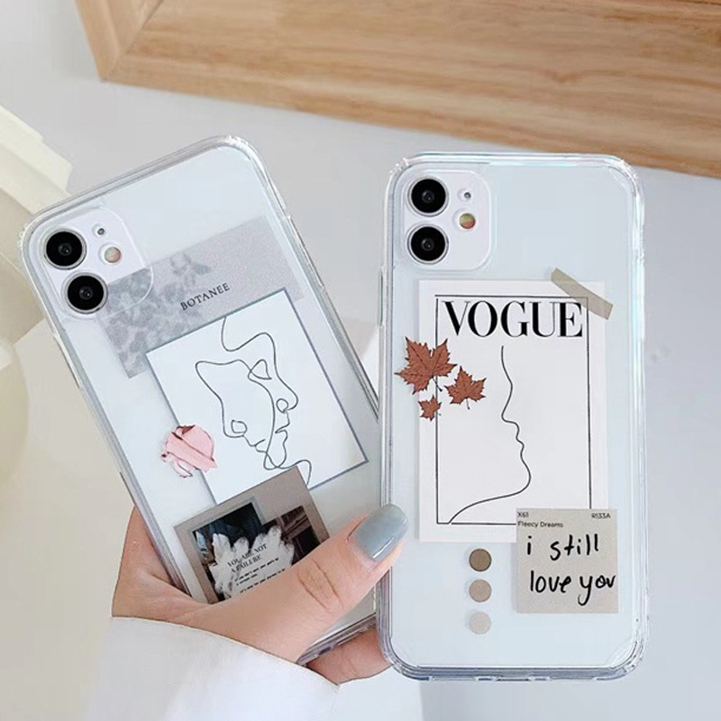 Artistic Face Letter Phone Case For iPhone 12 Mini 11 Pro Max SE 2020 X XR XS Max 7 8 Plus Transparent Soft Silicone Phone Cover