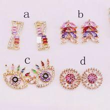 10 пар, модные, смешанные, стильные, микро проложить циркония, радуга, CZ, нежные серьги гвоздики для женщин, подарок для девочек
