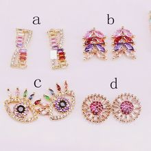 10Pairs fashion Mix Style Micro Pave Zirconia Rainbow CZ Delicate stud earrings for Women Girl gift