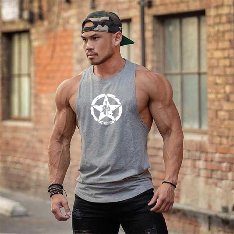 Gym นักรบฝ้ายยิมถัง Tops ผู้ชายแขนกุด Tanktops สำหรับ Boy เพาะกายเสื้อผ้าเสื้อกล้ามฟิตเนส Stringer workout เสื้อกั๊ก