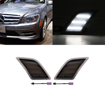 For Benz W204 C-Class 2008-2011 C300 C350 C63 AMG Front Bumper White Led Side Marker Lights Error Free image