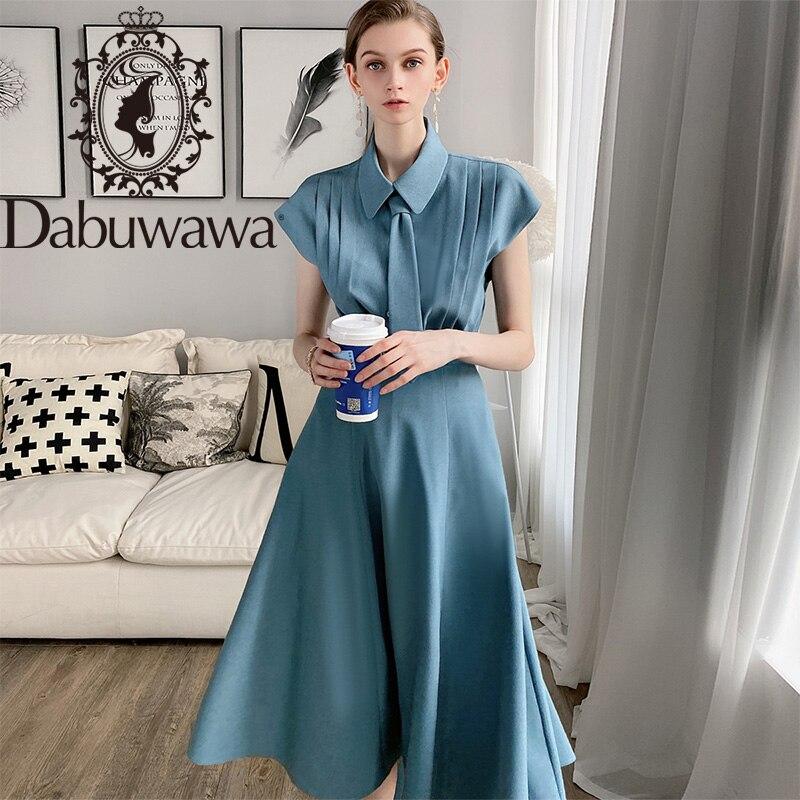 Dabuwawa Blue Tie Pleated Shirt Top Long A-Line Skirt Set Women Short Sleeve Elegant Two Pieces Sets Office Lady DT1BSA008