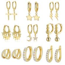 925 boucles d'oreilles en argent Sterling couleur or croix lune étoile CZ Zircon petit cercle Huggie boucles d'oreilles pour femmes bijoux fins
