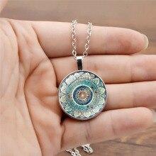 1 PC European Mandala Yoga Necklace Stylish Round Glass Pendant Necklace Vintage Pattern Custom necklace girl's gift stylish layered round pendant necklace for women