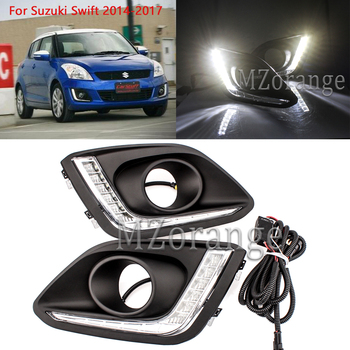 MZORANGE LED DRL Daytime Running Light For Suzuki Swift 2014-2017 Car-styling Accessories DRL Car Fog Lamp Relay Daylight цена 2017