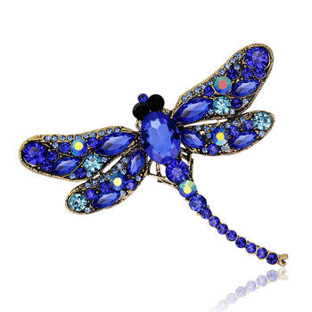 Vintage Crystal Dragonfly Brooches For Women Big Insect Brooch Pin Fashion Dress Coat Accessories Jewelry Cute image