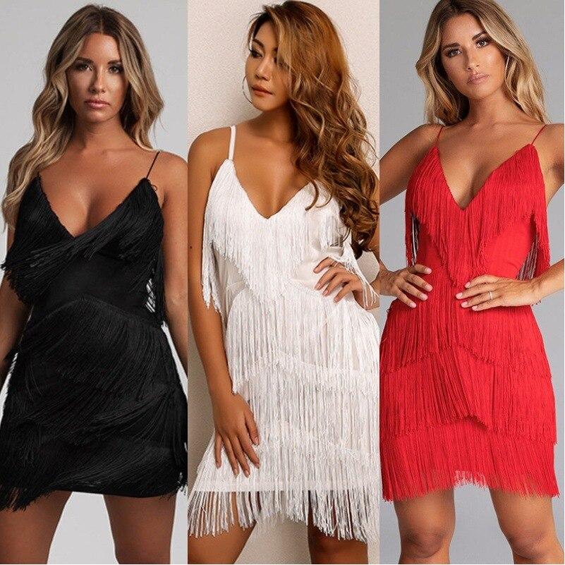 BacklakeGirls Tiered Tassels Sexy Deep V Neck Sleeveless Spaghetti Short Cocktail Dress Solid Party Dress Vestidos De Coctel