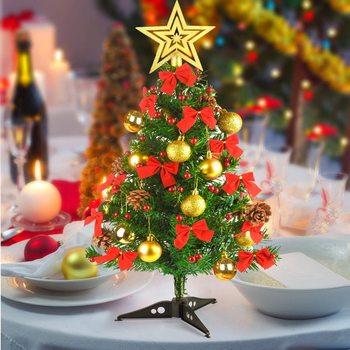 2FT Christmas Tree New Years Mini Small Pine Desktop  Artificial LED Tabletop Xmas Decorative