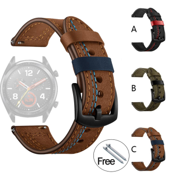20mm 22mm Leather Watch Band For Samsung Galaxy Watch Active 2 42 46mm Gear S3 Watchband For Amazfit Bip Strap For Huawei Watch