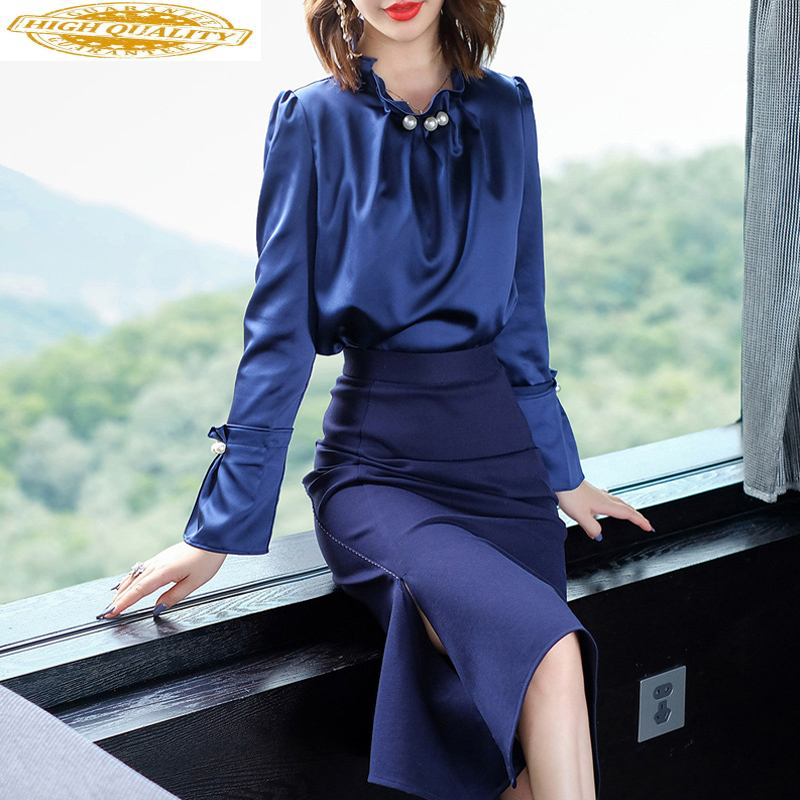Two Piece Set Women Clothes 2020 Spring Summer Skirt Women Vintage Office Shirt Tops Blue Long Skirts Conjuntos De Mujer MY2339