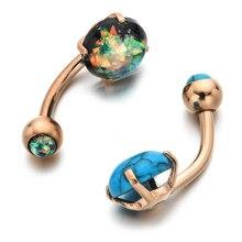 Anel de umbigo, anel de aço inoxidável natural de pedra natural, anel em ouro rosa, prata, sexy, piercing da barriga, acessórios de joias