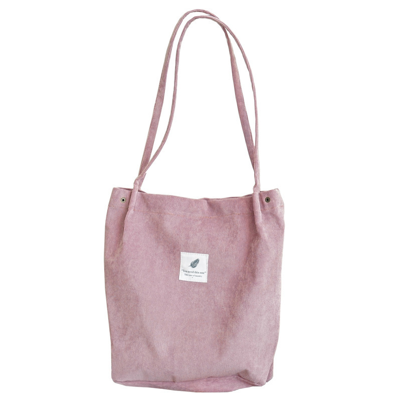 High Capacity Women Corduroy Tote Ladies Casual Shoulder Bag Foldable Reusable Shopping Beach Bag Solid Corduroy Shoulder Bags