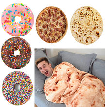 Креативное круглое одеяло с едой плед в клетку изображением