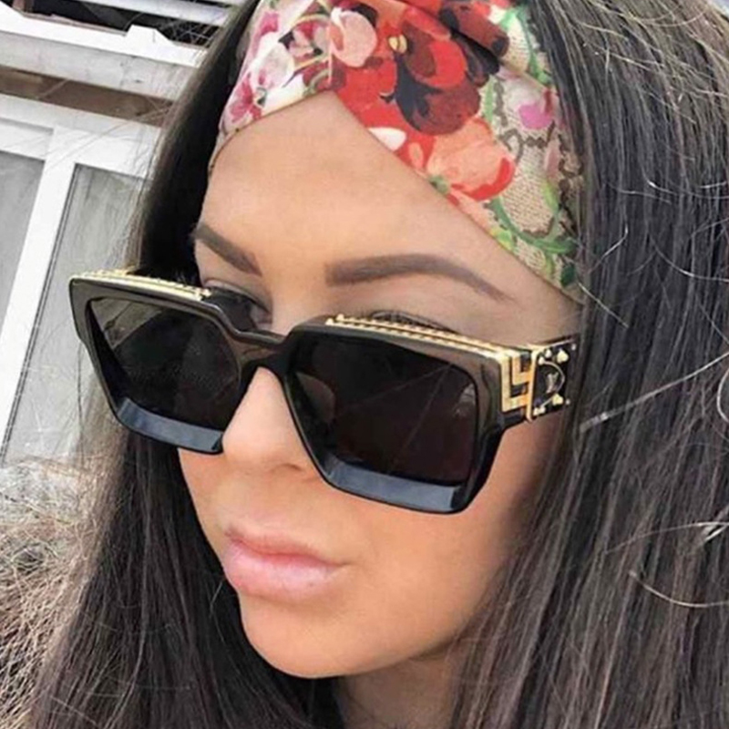 MIZHO Fashion White Clebrity Square Sunglasses Men Vintage Big Classic Gradient Shield UV400 Women Brand Sunglasses 2020 Tinted