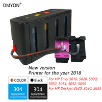 DMYON 304 CISS Bulk Ink Replacement for Hp 304 for Envy 5010 5020 5030 5032 5034 5052 5055 2620 2630 2632 Printers