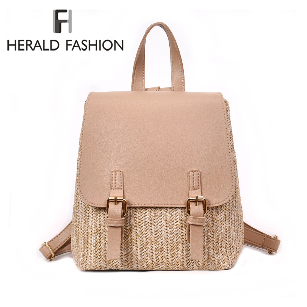 Herald Fashion Straw Woven Backpack Women Back Pack Autumn Teenage Girl Quality Backpacks Travel Bags Kawaii Rucksack Drop Ship