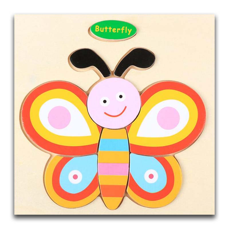 3D Wooden Puzzle Jigsaw Toys For Children Wood 3d Cartoon Butterfly Animal Puzzles Intelligence Kids Early Educational Toys