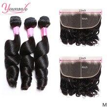 Younsolo бразильские вплетаемые волосы пряди с фронтальной 13x4 человеческих волос 3 Связки свободная волна пряди с фронтальной Волосы Remy