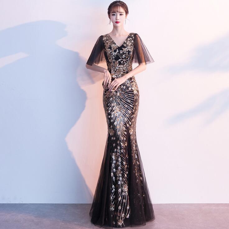 Sequin Embroidered Evening Dress 2020 Luxury Noble Mesh Yarn Slim Elegant Women Vintage Party Formal Long Dress Robe De Soiree