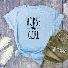 HORSE GIRL Letter Print T Shirt Women Short Sleeve O Neck Loose Tshirt Summer Women Causal Tee Shirt Tops Camisetas Mujer