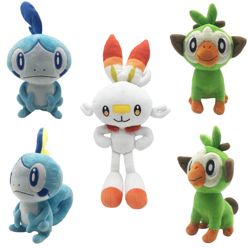 new-4pcs-set-23-36cm-font-b-pokemones-b-font-sword-and-shield-scorbunny-grookey-sobble-stuffed-plush-sirfetch'd-doll-toys-gift-for-kids