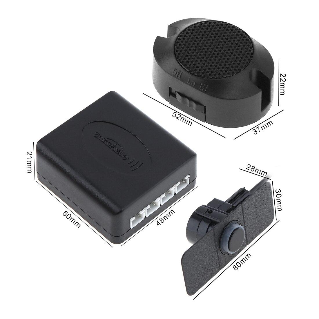 Auto Parkplatz Sensoren Parktronics 4 Schwarz/Silber Weiß 16,5mm Flache Sensoren Reverse Backup Radar Sound Summer Alarm Einstellbare auto