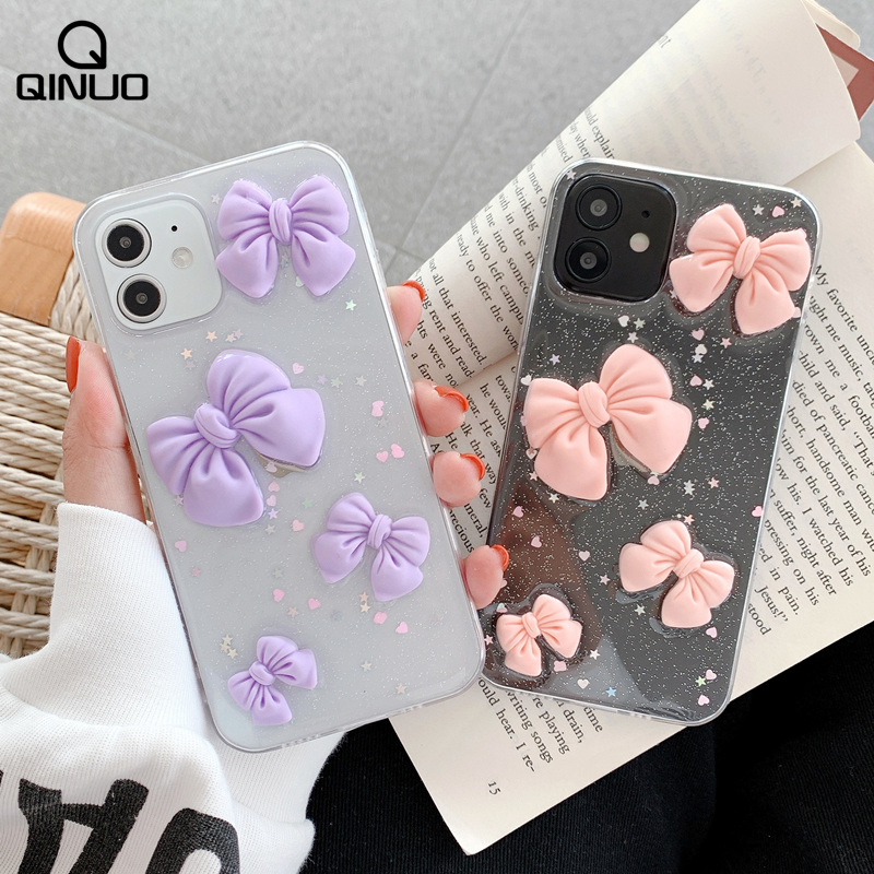 Bling Glitter Cute Phone Case For Iphone 12 Pro 11 Pro Max 12 Mini X XR XS Max SE 2020 6 6S 7 8 Plus 3D Cartoon TPU Clear Cover