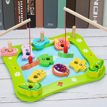 Magnetic Fishing Wooden Children Toy Simulation Play House Set Pillar Shape Recognition Educational Toys Gifts free shipping magnetic simulation fruit well send to receive bag house wooden toys