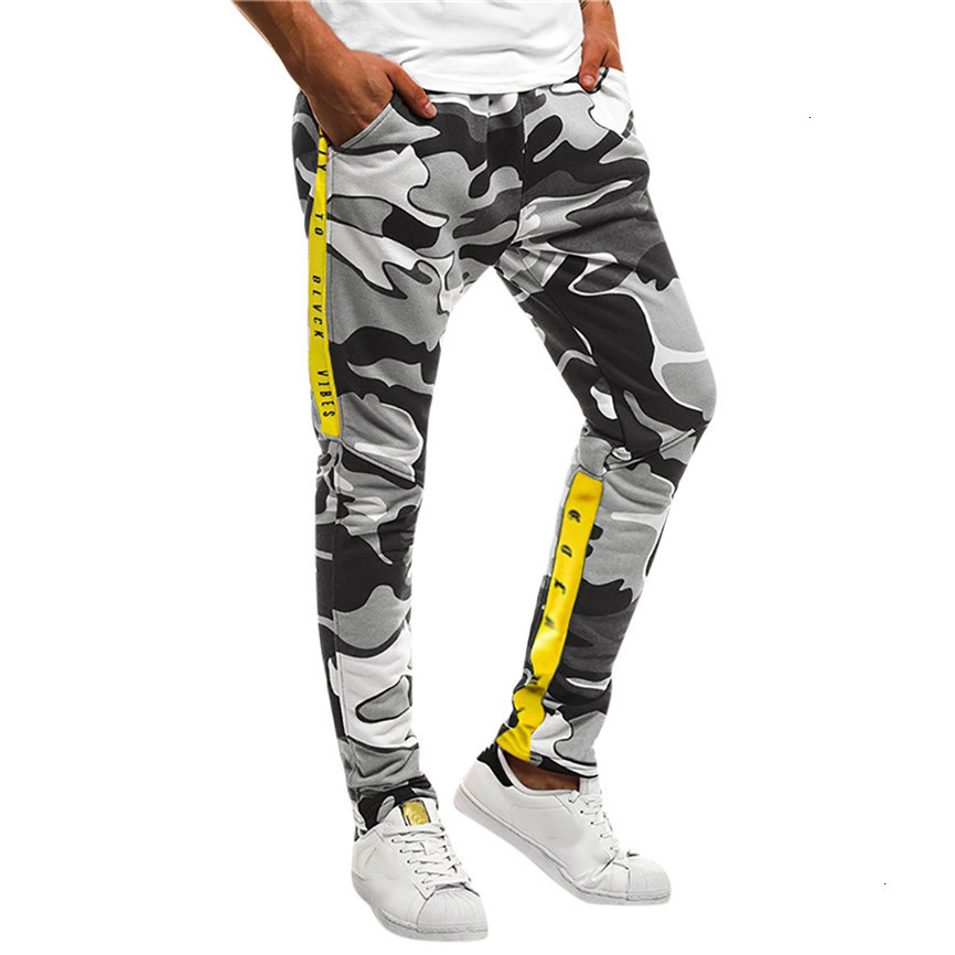 Men Splicing Camouflage Overalls Casual Pocket Sport Work Casual Trouser Pants Pantalones Hombre Trainingsbroek Mannen Pants Men