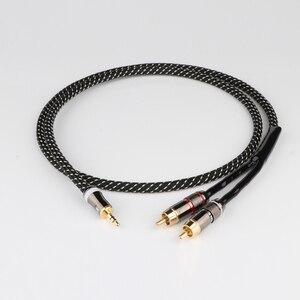 Szt. Hifi Canare 3.5mm do 2RCA Audio AUX Adapter Stereo 3.5mm kabel splittera AUX RCA Y przewód do smartfonów głośniki Tablet