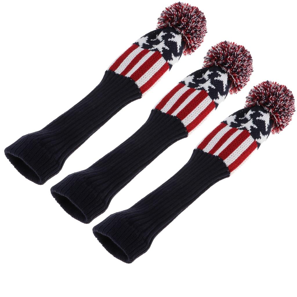 3Pcs Golf Drivers Headcover Club Sock Golf Head Cover Pom Pom Red Stars Golf Club Covers Golf Accessories ヘッドカバー