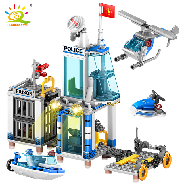 HUIQIBAO 312pcs 4in1 Marine Police station Building Blocks City Boat Helicopter Policemen figures model Bricks Toys For children